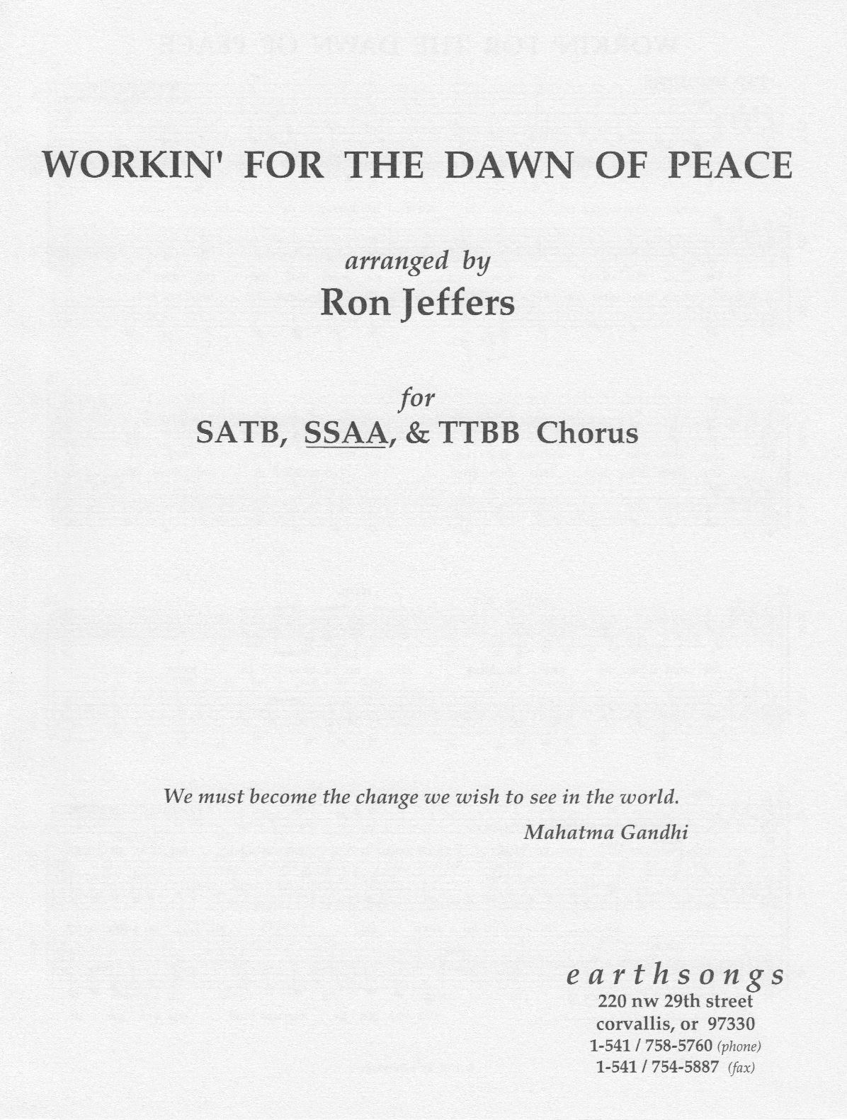 workin' for the dawn of peace (ssaa)