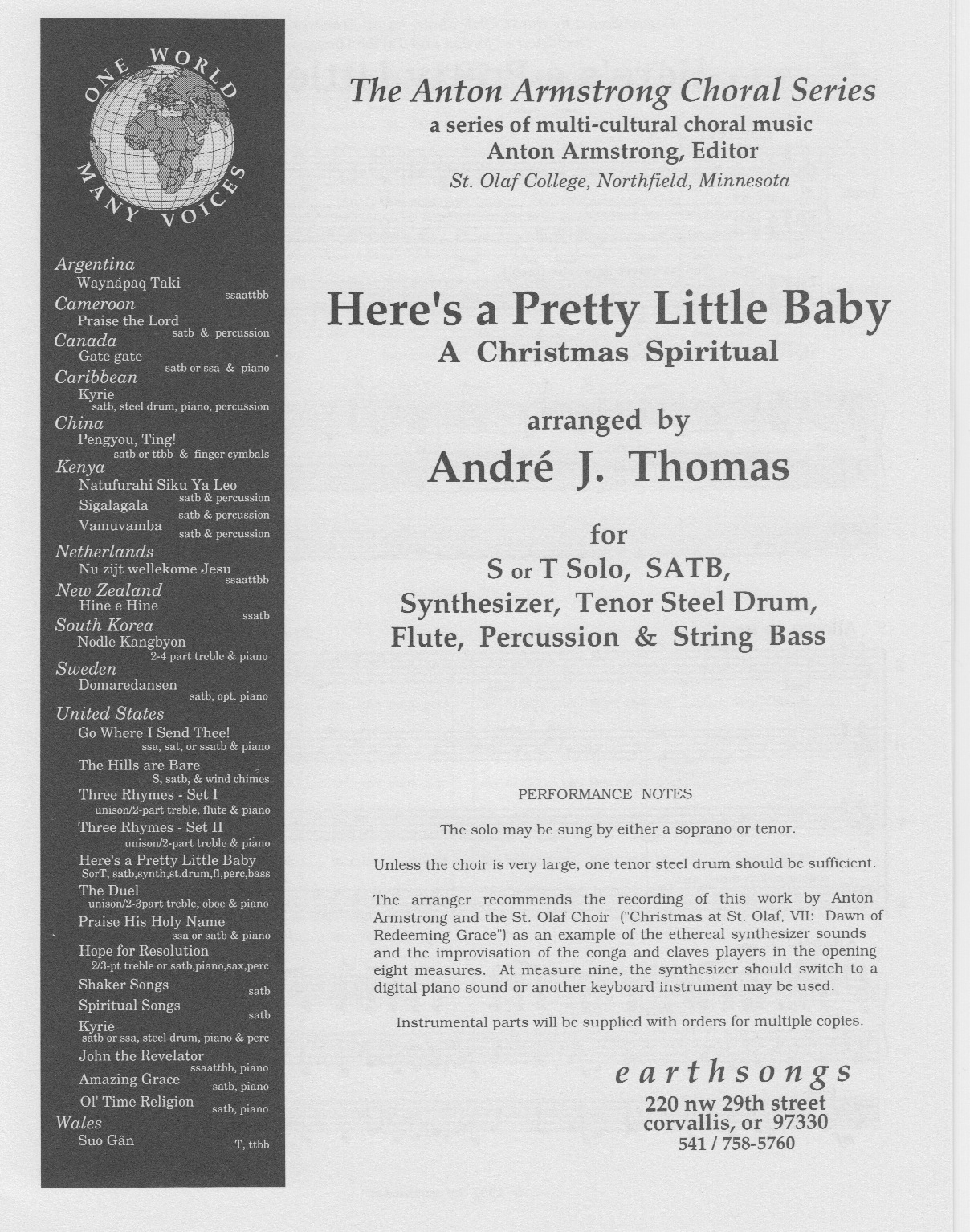 here's a pretty little baby (satb)